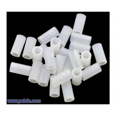 Nylon Spacer: 10mm Length, 5mm OD, 3.3mm ID (25-Pack)