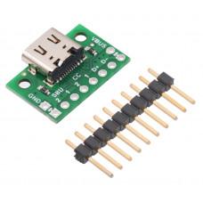 USB 2.0 Type-C Connector Breakout Board (usb07b)