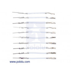 """Wires with Pre-Crimped Terminals 10-Pack M-F 1"""" White"""